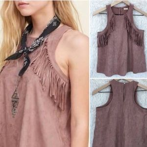 Hollister Brown Faux Suede Fringed Tank Top L